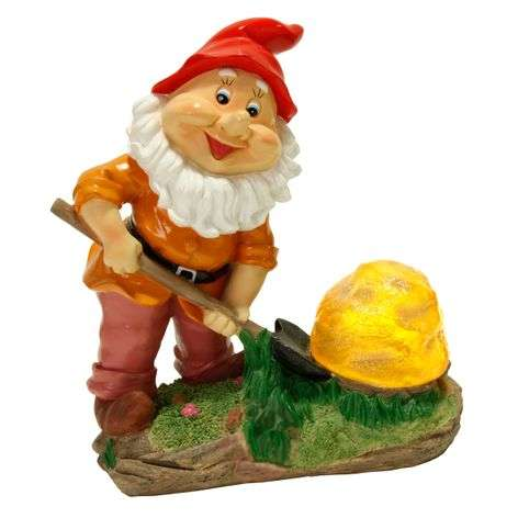 Cute Garden gnome with solar technology