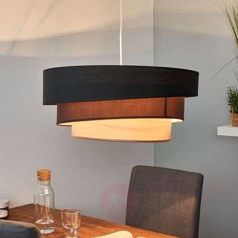 Dark pendant lamp Melia in black and brown