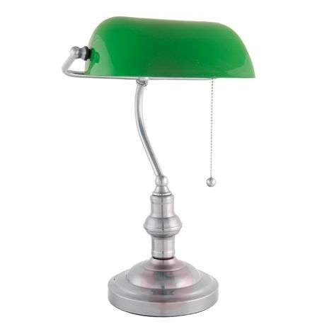 Decorative banker lamp Verda with a nickel base
