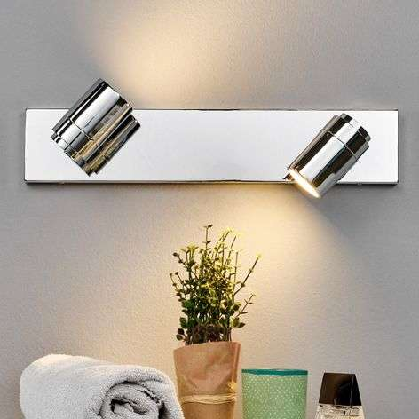 Dejan bathroom wall light in chrome, two bulbs