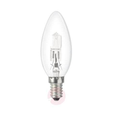 E14 18 W Halogen lamp, candle shape, clear