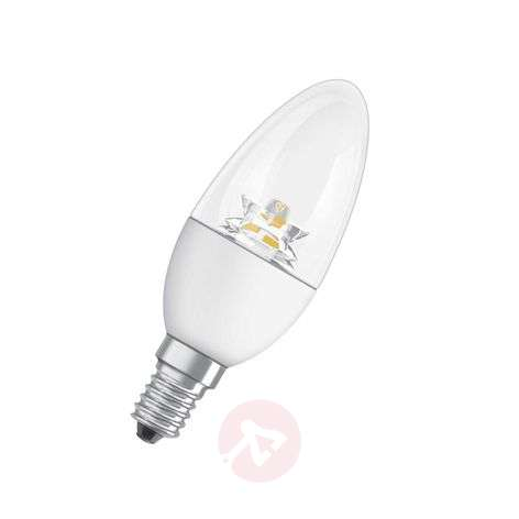 E14 6W 827 LED candle bulb Superstar, clear, dimm.