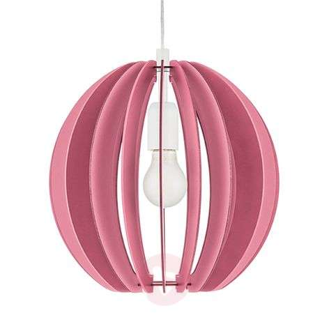 Fabella hanging light with wooden slats in magenta