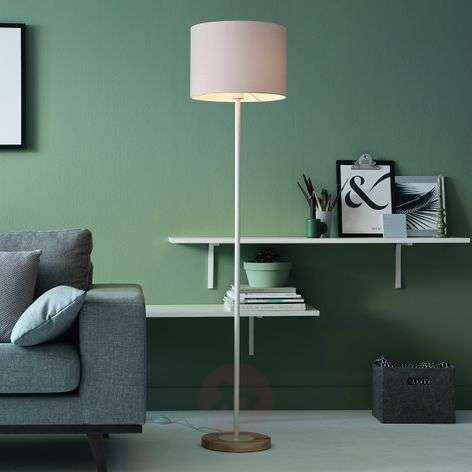 Fabric Limba floor lamp with wooden base