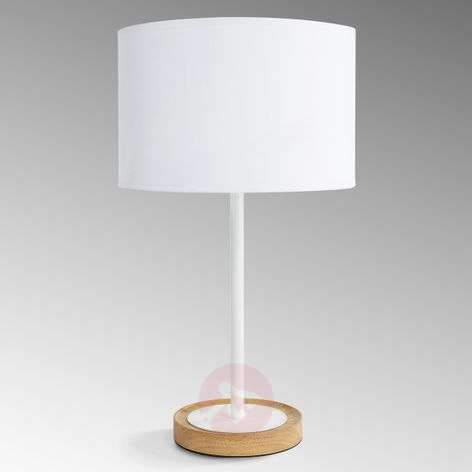 Fabric Limba table lamp with wooden base
