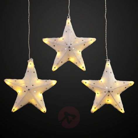 Glowing LED stars, set of 3, 19 cm each
