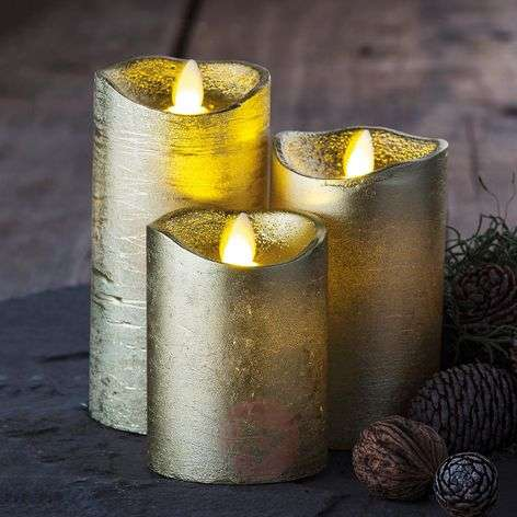 Gold-coloured real wax LED candle Tenna, set of 3