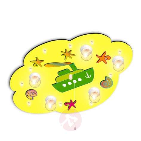 Happy ceiling light Cloud with boat in yellow
