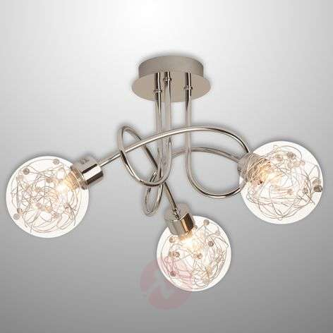 Joya - 3-bulb ceiling light with glass lampshades