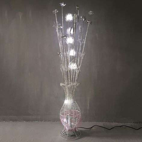 LED floor lamp Laena with a floral design