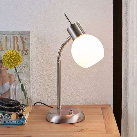 LED table lamp Manon with opal white glass shades