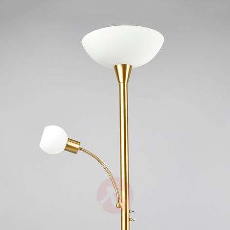 LED uplighter Elaina in brass with a reading light