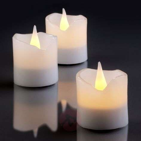 LED wax candles, set of 6, white, 4 cm x 4.2 cm