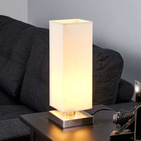 Martje - white table light with E14 LED lamp