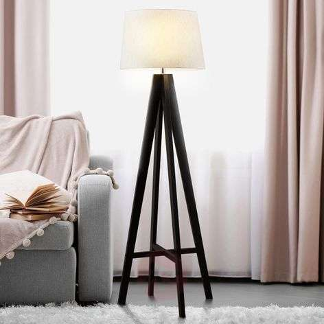 Maura fabric floor lamp with wooden base