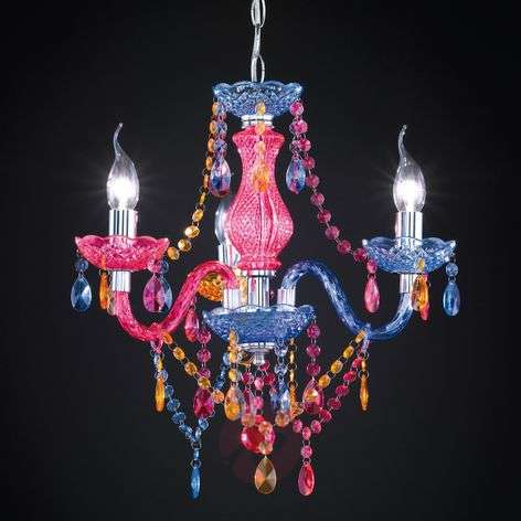 Multi-col. Perdita chandelier with acrylic deco