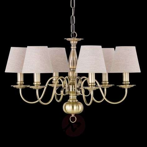 Chandeliers with shades top designs buy online lights natural colour linen shade brighton chandelier aloadofball Images