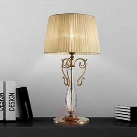 Nereska brass table lamp with organza lampshade