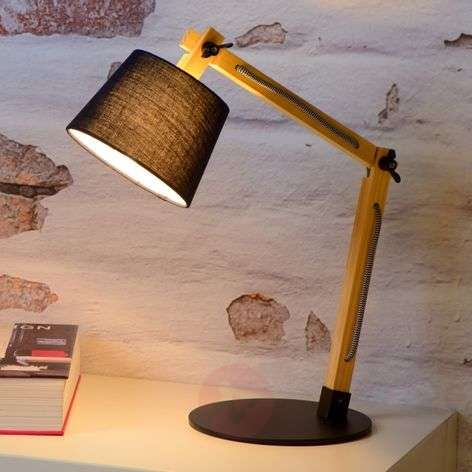 Olly - pine wood table lamp, black shade