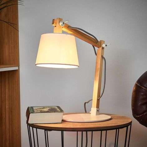Olly wood table lamp with white lampshade