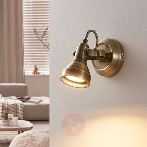 Perseas LED wall spotlight, antique brass