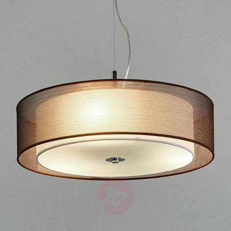 Pikka brown fabric pendant light with E27 LEDs