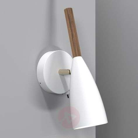 Pure - LED wall light in white with wood element