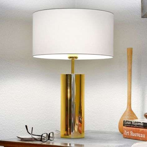Round table lamp Prague with white fabric shade