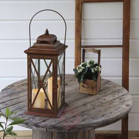 Rust-copper-coloured  Lantern with 2 LED candles