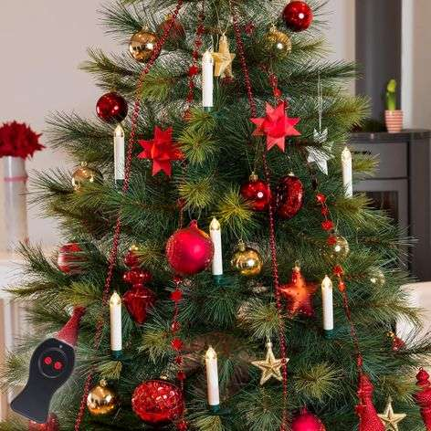 Set of 10 LED tree candles wireless remote control