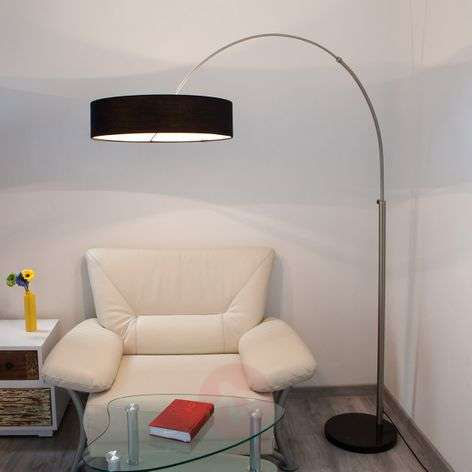 Shing fabric floor lamp with a black lampshade