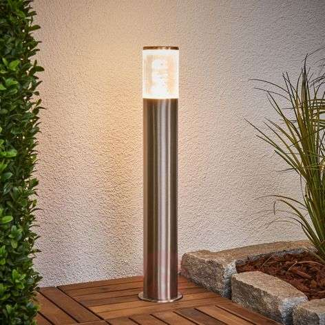 Stainless steel pillar lamp Belen with LEDs