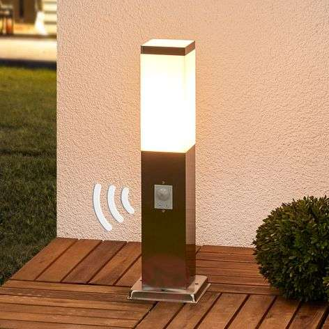 Stainless steel pillar lamp Lorian with sensor