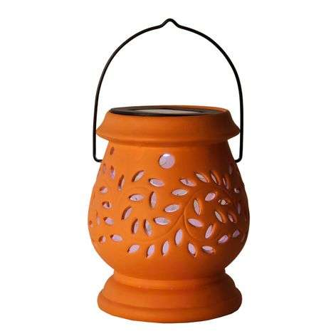Terracotta-coloured LED solar lamp Clay Lantern