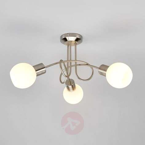 Three-bulb LED ceiling light Elaina, nickel matte