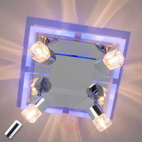Timea 4-light ceiling lamp with blue LEDs