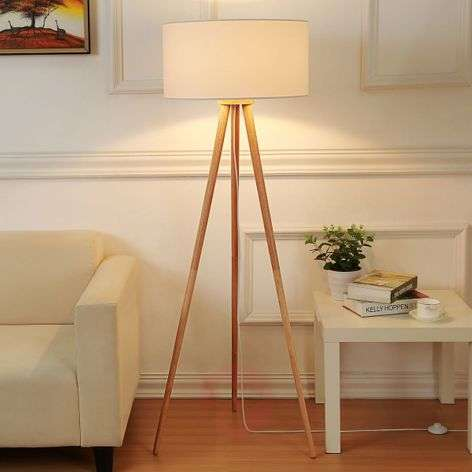 Tripod Fabric Floor Lamp Charlia Lights Co Uk