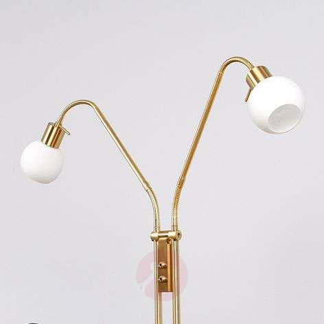 Two-bulb LED floor lamp Elaina, brass