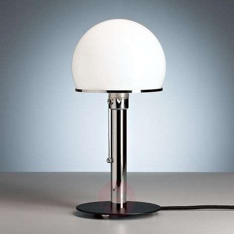 Wagenfeld table lamp with a black painted base