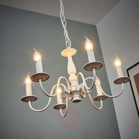 White chandelier MAYRA in country house style