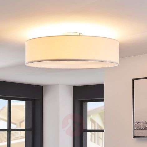 White fabric LED ceiling light Sebatin