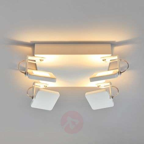 White LED ceiling lamp Kena, dimmable spotlights