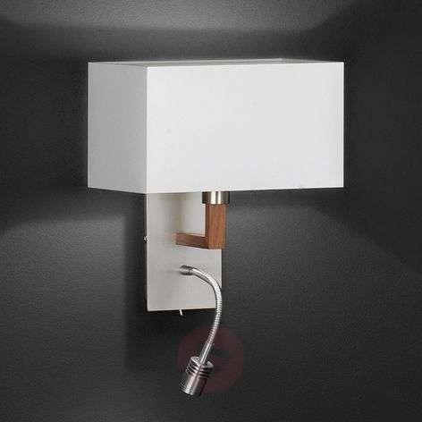 White textile wall lamp Casta with reading light