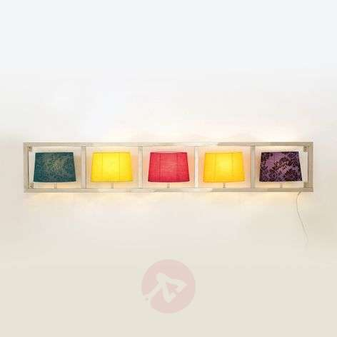 Wide wall light PARECCHI fabric lampshades 5-bulb