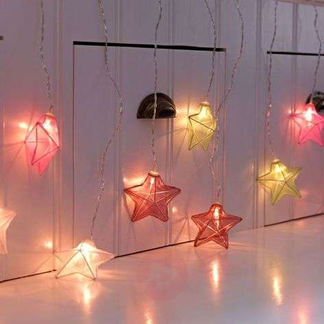 With colourful stars - LED curtain light Isabella