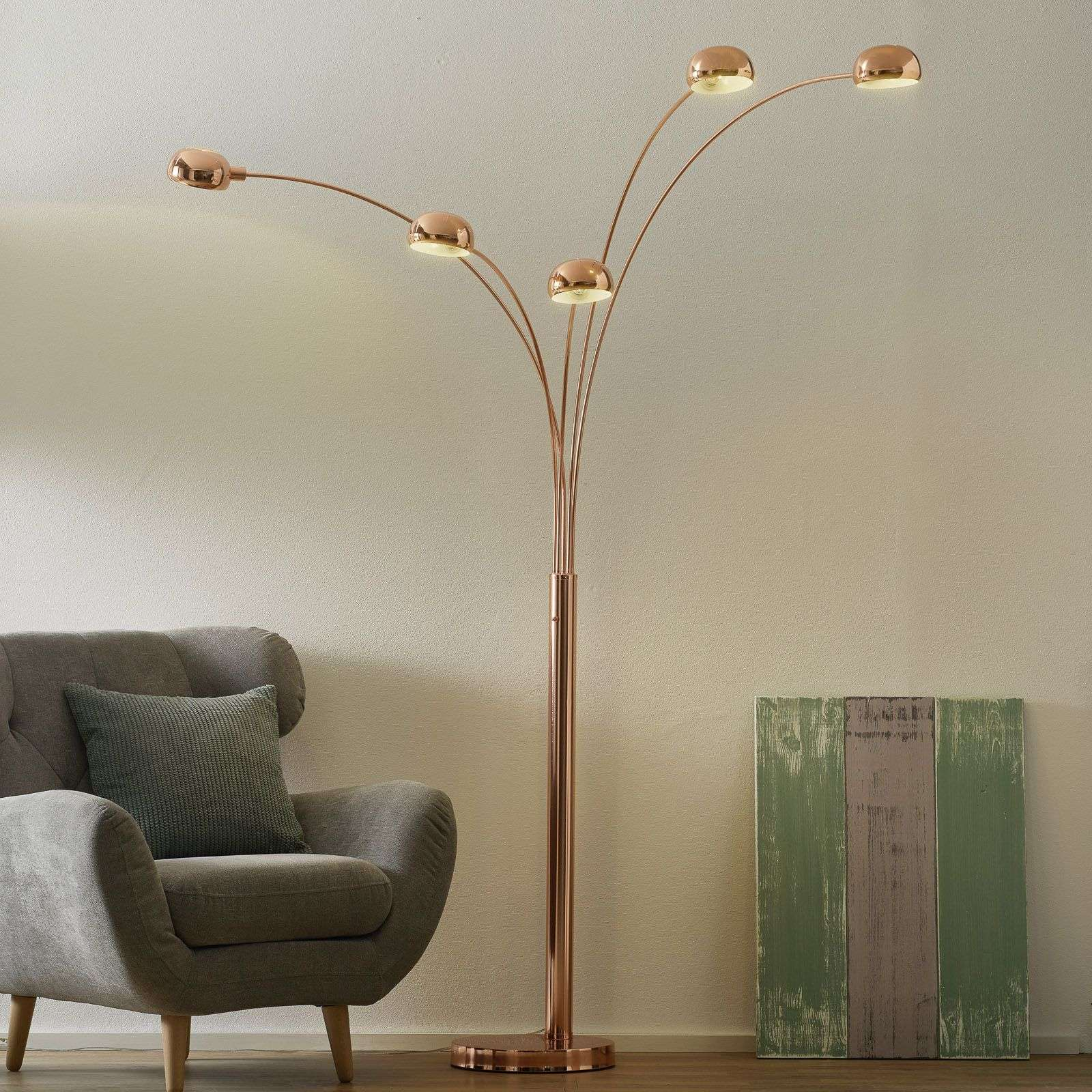 5 Bulb Pelin Floor Lamp Copper Coloured Shades Lights Co Uk