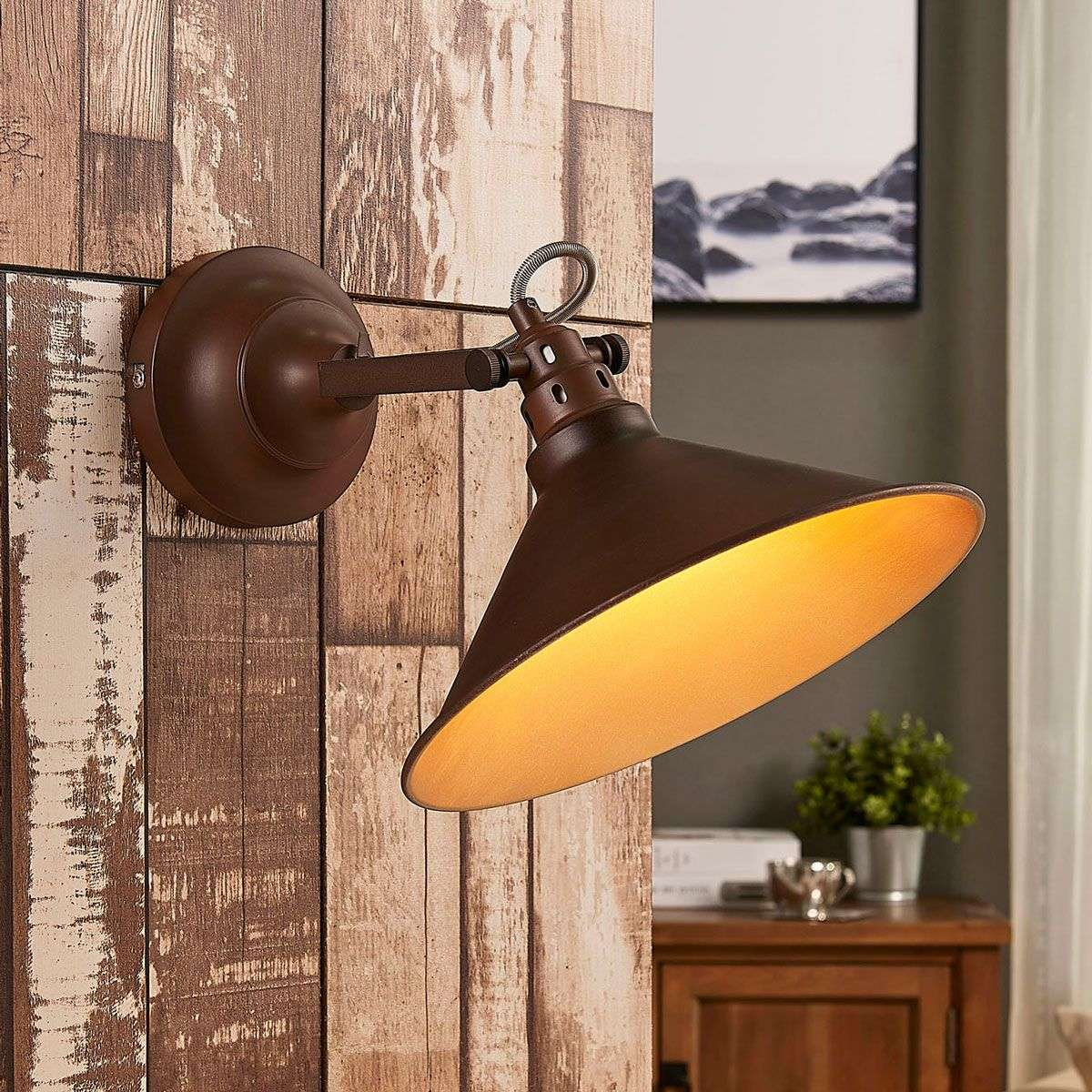 industrial look lighting. Abby Wall Light With Industrial Look, Rusty Brown-9621443-311 Look Lighting G