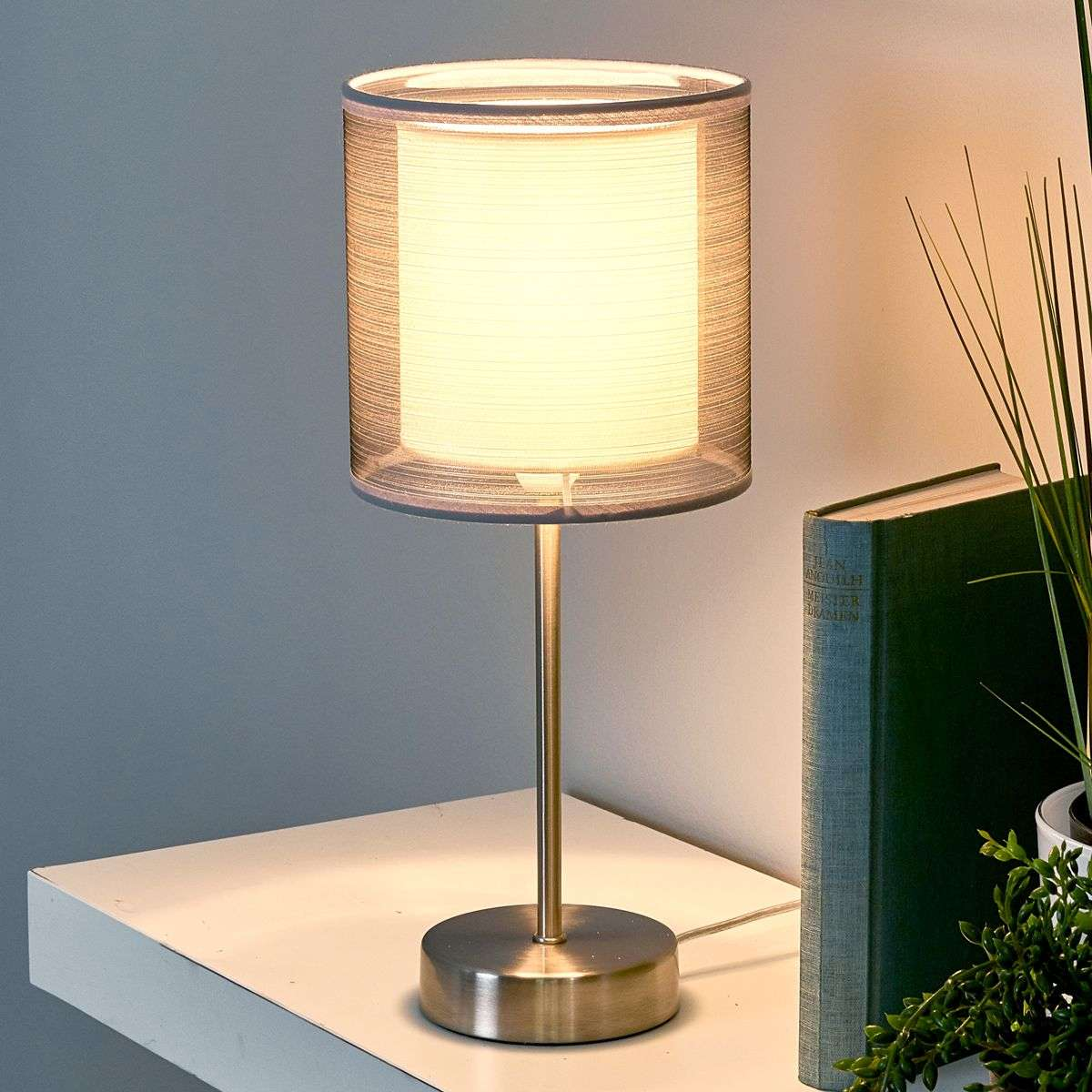 attractive nica bedside table lamp in grey. Black Bedroom Furniture Sets. Home Design Ideas