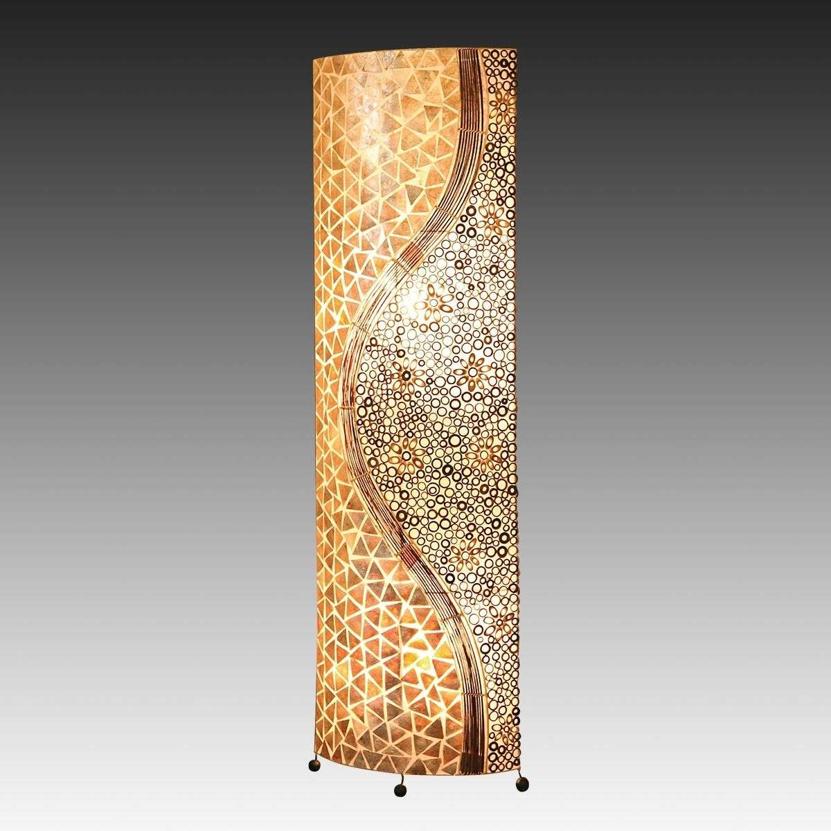 Bali Ethnic-look Oval Mother-of-Pearl Floor Lamp - Bali Ethnic-look Oval Mother-of-Pearl Floor Lamp Lights.co.uk