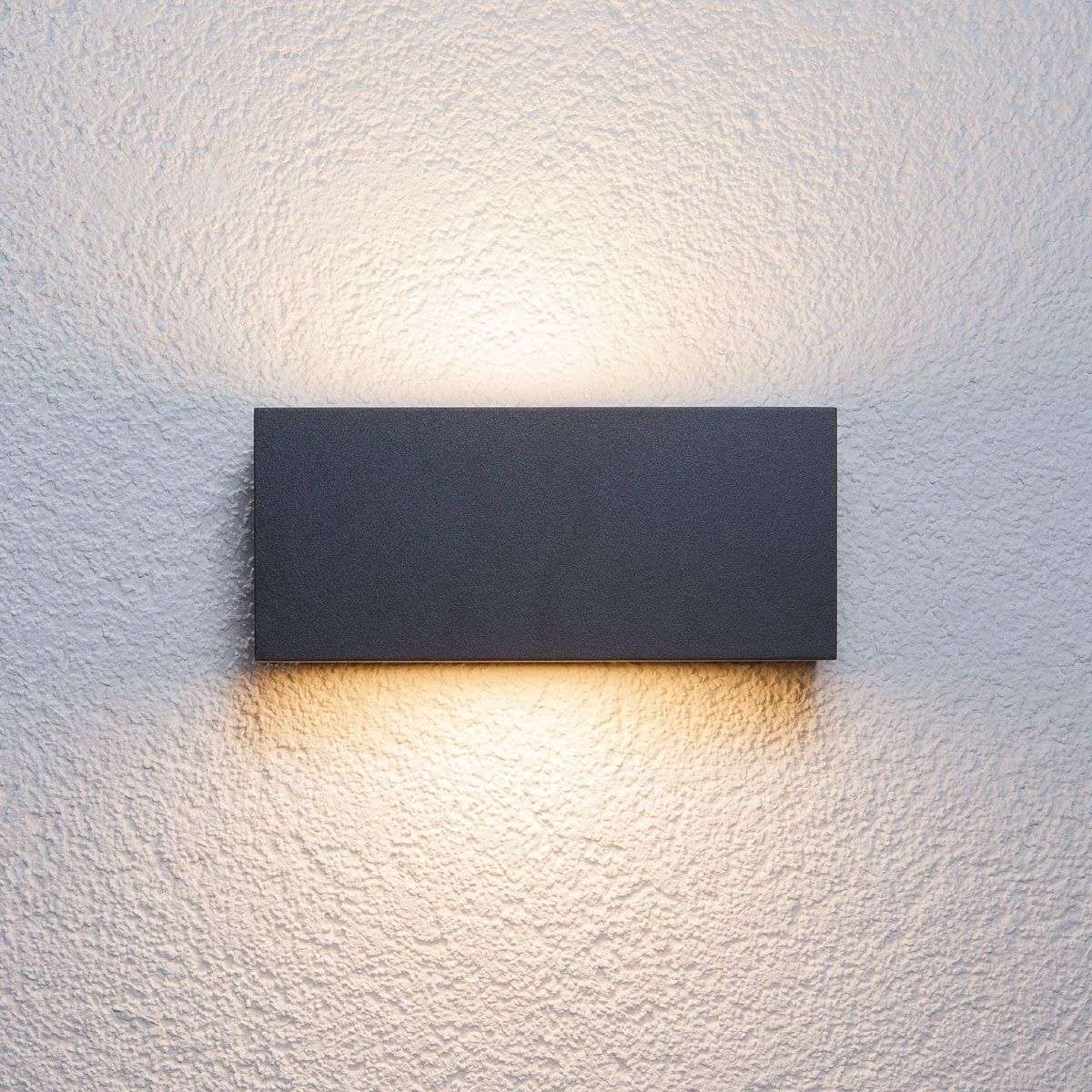 Bente rectangular outdoor wall light graphite lights for Lampe exterieur solaire avec detecteur